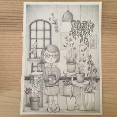 Children illustration by Valeria Frustaci - Final version in gray #garden #childrenillustration #kid #girl #plants #flower #valeriafrustaciillustration #sketch #illustration