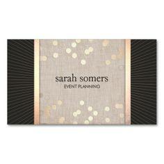 Stylish Event Planner Chic Gold Confetti Linen Business Card Templates