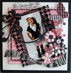 Adorable Layout: I love the pink and black.
