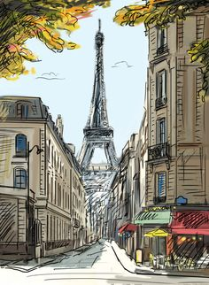 schöne Skizze des Designviertels in Paris. - Mia -Eine schöne Skizze des Designviertels in Paris. - Mia - Aqua and coral Repost from - パリ・エッフェル塔 The Eiffel Tower , Paris 🇫🇷 London Illustration Parisienne, Illustration Art, London Illustration, Art Illustrations, Art Sketches, Art Drawings, Drawing Art, Drawing Journal, Journal Art