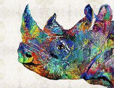 Acrylic painting - Colorful Rhino Rhinoceros Animal