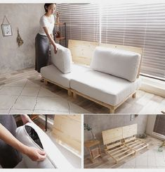 ideas cat furniture diy apartments small spaces litter box for 2019 Diy Couch, Diy Furniture Couch, Pallet Furniture, Furniture Design, Furniture Ideas, Wooden Sofa Designs, Furniture For Small Spaces, Diy Home Decor, Bedroom Decor