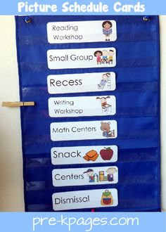 Preschool and pre-k daily picture schedule cards for pocket chart. Help create smooth transitions in your preschool or kindergarten classroom. Classroom Schedule, Kindergarten Classroom, Classroom Activities, Classroom Organization, Classroom Management, Classroom Ideas, Behavior Management, Preschool Schedule Cards, Prek Literacy