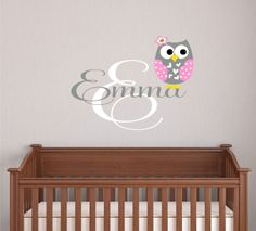 Owl Wall Decal  Wall Decals Nursery   Name Wall Decals by LucyLews, $27.00