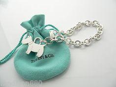 Tiffany CO Silver Scottie Terrier DOG Charm Pendant Bracelet Bangle 8 25 Inch   eBay