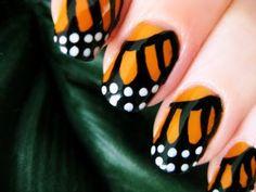 DIY Monarch butterfly nail polish tutorial