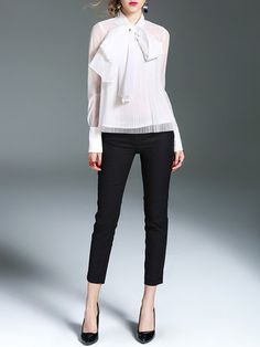 Bow Pleated Long Sleeve Casual Stand Collar Organza Blouse