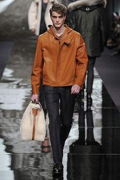 Louis Vuitton Men's RTW Fall 2013 - Amber plonge leather blouson. - that bag!!!!