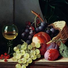 Edward Ladell Solid-Faced Canvas Print Wall Art Print entitled Grapes and plums Bull Painting, Fruit Painting, Painting Still Life, Still Life Art, Abstract Canvas, Abstract Print, Caravaggio, Plum Paint, Vine Tattoos