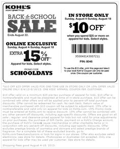 Kohls coupons august 2019