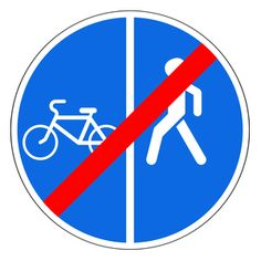 End of separated path for pedestrians and cyclists All Traffic Signs, Driving Theory, Practice Exam, Cyclists, Pedestrian, Russia, Education, Learning, School