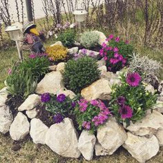 Stunning Front Yard Rock Garden Landscaping Ideas - Designing a front yard is usually about accessibility and invitation. We spend hardly any time in the front yard as opposed to the backyard, but it is. Rockery Garden, Rock Garden Plants, Pebble Garden, Patio Plants, Flowers Garden, Spring Flowers, Landscaping With Rocks, Front Yard Landscaping, Landscaping Ideas