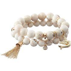 Apt. 9® Beaded Bird & Tassel Charm Stretch Bracelet Set ($16) ❤ liked on Polyvore featuring jewelry, bracelets, ivory, artificial jewellery, tassel jewelry, charm bangle, charm jewelry and imitation jewellery