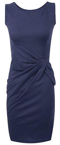 Womens Big Bow Detail Pleated Ponte Dress