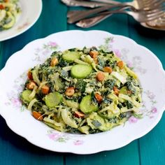 Kale Cucumber Leek Salad With Roasted Leek Manchego Pesto Vinaigrette [CaliZona]