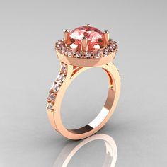 Classic 14K Rose Gold 1.5 Carat Morganite Diamond Solitaire Wedding Ring R115-14KRGDMO. $1,399.00, via Etsy.