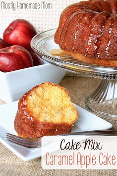 Cake Mix Caramel Apple Cake  1 box yellow cake mix (ignore the ingredients listed on box) 3.4oz box white chocolate instant pudding 1 cup water 4 eggs, slightly beaten 1/3 cup applesauce (or oil) 3 apples, peeled and chopped small 1/2 cup caramel ice cream topping  Yum!   For the full recipe, click on the image!