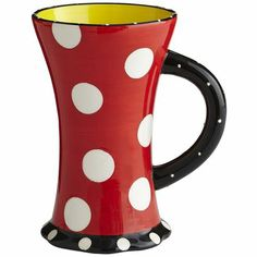 """Petal-Footed Polka Dot Mug...I bought this at Pier 1 the other.  They have a striped one too. A bit """"Seussical"""" don't you think? :-) The striped one most definitely."""