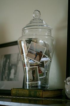 Keep old photos in a glass jar - it's a great conversation piece as people notice interesting pics.