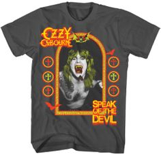This men's Ozzy Osbourne tshirt features the album cover artwork to Speak of the Devil, a live album Ozzy released in 1982. Consisting primarily of Ozzy only renditions of Black Sabbath songs, Speak of the Devil was recorded at The Ritz in New York City during September 26-27, 1982. The album is no longer in print in the US but is available in other markets such as Japan. Our Speak of the Devil album cover tee is made from 100% grey cotton.