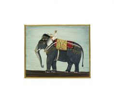 This artwork is inspired by a beautifully illustrated album leaf from a Mughal album, meticulously hand painted in opaque watercolor and gold, depicting a magnificent elephant ridden by a mahout. This famous elephant was the great `Alam Guman,' presented to the Mughal Emperor Jahangir (r. 1605-–27) during a military campaign. 'Alam Guman' was one of 17 elephants presented to the Emperor to mark the 10th year of his reign. • Watercolor and gold on vasli paper •  Artist: Naseem Siddique.