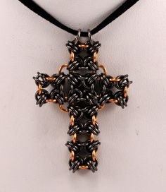 #Chainmaille Cross Pendant by TheAlaskanMailleMan on Etsy, $35.00
