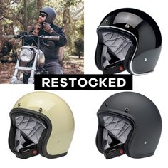 The gloss black, flat black and vintage white Biltwell Bonanzas have been restocked! Grab one while we got your size! ⚡⚡⚡ Motorcycle Riding Gear, Cool Motorcycle Helmets, Riding Helmets, Lifestyle Shop, Black Flats, Shopping, Vintage, Black Flats Shoes, Vintage Comics