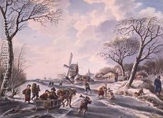 W.F. Christ:Dutch winter garden scene of windmill and skaters