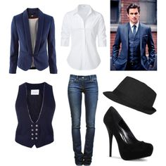 Oooh! Neal Caffrey style for women..haha! Blazer,white button up, skinny jeans, heels