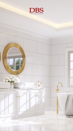 This all-white bathroom is bright and clean, utilising both natural lighting and and LED strip on the ceiling. The room is elevated and tied together with the bright gold accents, creating a vintage and classic feel.