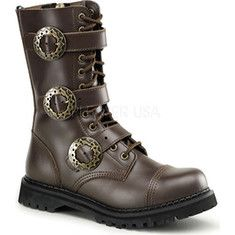 Demonia - Steam 12 Mens - Brown Leather 12 eyelet boots for $98.95 AT vintagedancer.com.  Not listed in black.