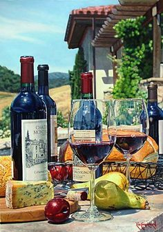 Cabernet Day by Eric Christensen - Watercolor Paintings - Judith Hale Gallery Still Life Artists, Wine Painting, Wine Art, Realistic Paintings, In Vino Veritas, Wine And Spirits, Fine Wine, Beautiful Paintings, Wine Country