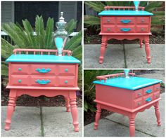 Done! Coral and turquoise antique table with spindles. Stamped underneath with 1969. Poly finish with hardware update. This piece is perfect for Londyn's room.