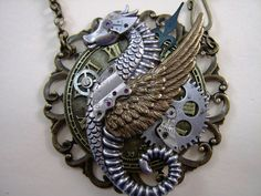 "Steampunk Necklace, Winged Sea Dragon / Sea Horse, Filigree,""The Time Writer"" Steampunk Design, Gothic Steampunk, Steampunk Fashion, Gothic Fashion, Dragon Necklace, Dragon Jewelry, Steam Punk Jewelry, Gothic Jewelry, Celtic Goddess"