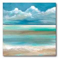 Wexford Home Ruane Manning 'Tranquility By The Sea I' Gallery-wrapped Canvas Wall Art Seascape Paintings, Oil Painting Abstract, Landscape Paintings, Painting Prints, Watercolor Paintings, Ocean Art, Beach Art, Painting Inspiration, Canvas Wall Art