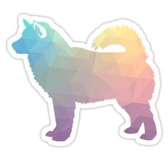 Alaskan Malamute Dog Colorful Geometric Pattern Silhouette by TriPodDogDesign Malamute Dog, Alaskan Malamute, Tumblr Stickers, Cute Stickers, Flower Henna, Dog Silhouette, Elephant Tattoos, Aesthetic Stickers, Watercolor Animals