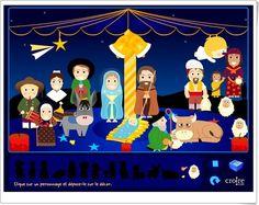 """""""Le grand crèche de Noël"""", de croire.com, es un bonito Portal de Belén, bajo una carpa, que ha de ser compuesto con las figuras adecuadas y puede ser animado con movimientos y música. Además, se puede imprimir."""