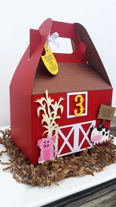 Farm Animal Party, Farm Animal Birthday, Farm Birthday, 2nd Birthday Parties, Farm Party Favors, Candy Party Favors, Candy Gifts, Decorated Boxes, Gable Boxes