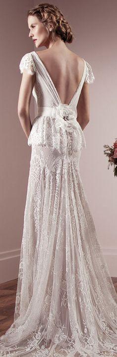 V shaped low cut back, cap sleeves sheath #wedding dress