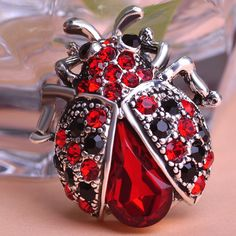 Vintage Jewelry Insects Beetle Ruby Antisilver Cheap Crystal Brooches