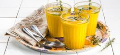 Carrot soup with herb butter