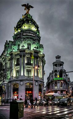 Gran Vía, Madrid, Spain Destination: the World Places Around The World, Oh The Places You'll Go, Travel Around The World, Places To Travel, Places To Visit, Around The Worlds, Beautiful Buildings, Beautiful Places, Modern Buildings