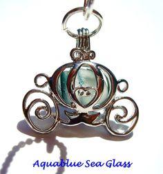 Sea Glass CINDERELLA Necklace Locket  English Multi Beach Glass   Ready To Ship FREE SHIPPING