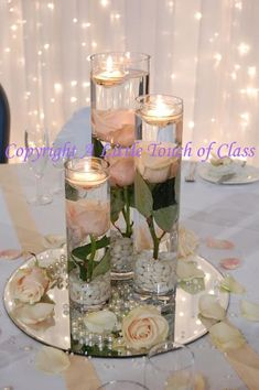 Ideas For Wedding Rose Gold Centerpieces Floating Candles Rose Gold Centerpiece, Floating Candle Centerpieces, Rose Gold Decor, Wedding Centerpieces, Wedding Table, Wedding Decorations, Submerged Centerpiece, Submerged Flowers, Floating Candles Wedding