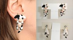 Cow clinging earrings by GeekOnDreamland
