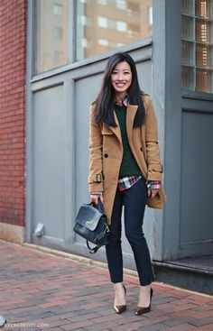 Borrowed from the boys: Holiday tartan and bronze pumps