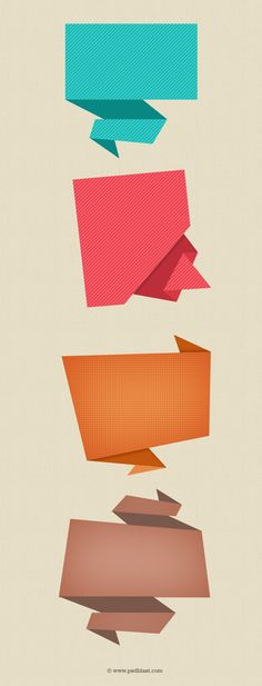 Abstract Origami Speech Bubble Icon (PSD)