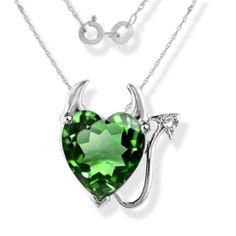 1/2 ct Emerald & Diamond Devil Heart Necklace in Sterling Silver