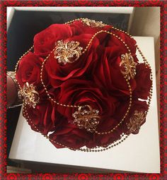 Brides Wedding Bouquet Red Roses with Gold brooches and pearls Indian Asian Black Bouquet, Red Bouquet Wedding, Bridal Brooch Bouquet, Red Rose Bouquet, Gold Bouquet, Boquet, Wedding Flowers, Quince Decorations, Gold Wedding Decorations