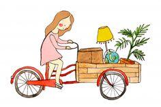 Illustration / verhuizen, fiets, bike, bakfiets
